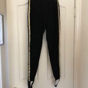NWT Forever 21 Black/gold tuxedo leggings